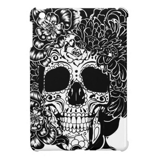 Sugar skull with flowers in black and white case for the iPad mini