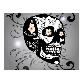 Sugar skull with flowers postcard