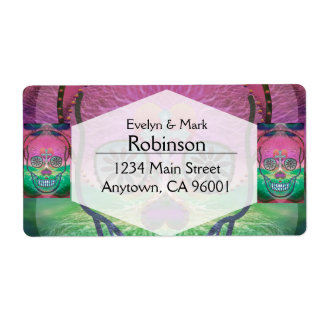 Sugar skull with rainbow colored background label