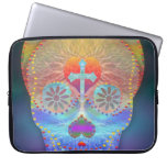 Sugar skull with rainbow colored background laptop computer sleeve