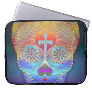 Sugar skull with rainbow colored background laptop computer sleeves