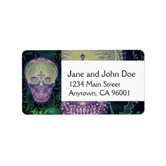 Sugar skull with rainbow colors, hearts address label