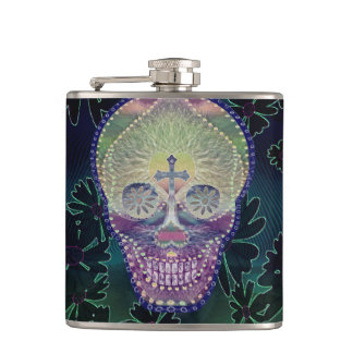 Sugar skull with rainbow colors, hearts flask