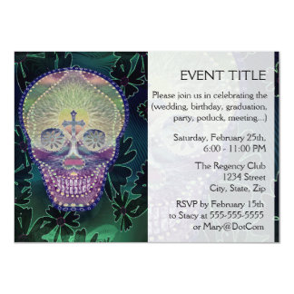 Sugar skull with rainbow colors, hearts 4.5x6.25 paper invitation card