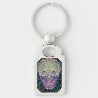 sugar skull with rainbow colors, hearts keychain