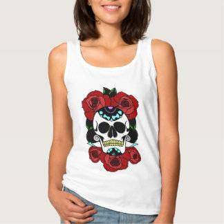 Sugar Skull with Red Roses Tank Top