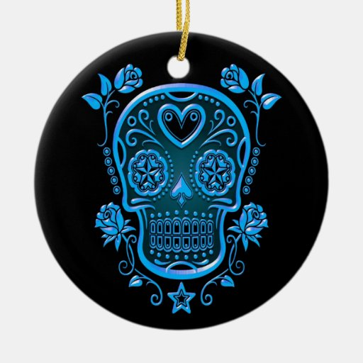 Sugar Skull with Roses, blue Christmas Ornaments