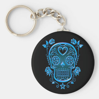 Sugar Skull with Roses, blue Keychain
