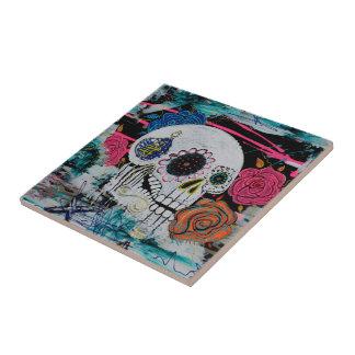 Sugar Skull with Roses Ceramic Tile