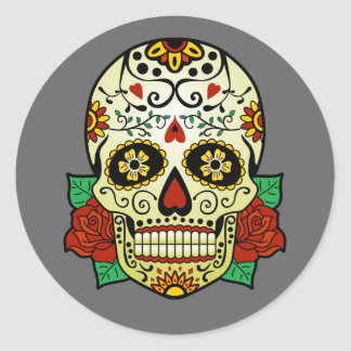 Sugar Skull with Roses Classic Round Sticker