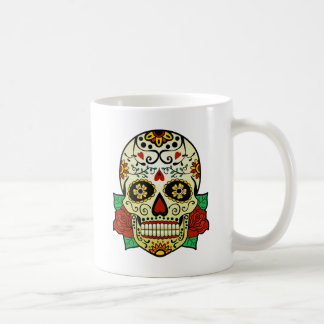 Sugar Skull with Roses Coffee Mug
