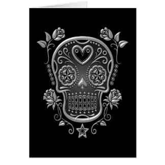 Sugar Skull with Roses, dark Card