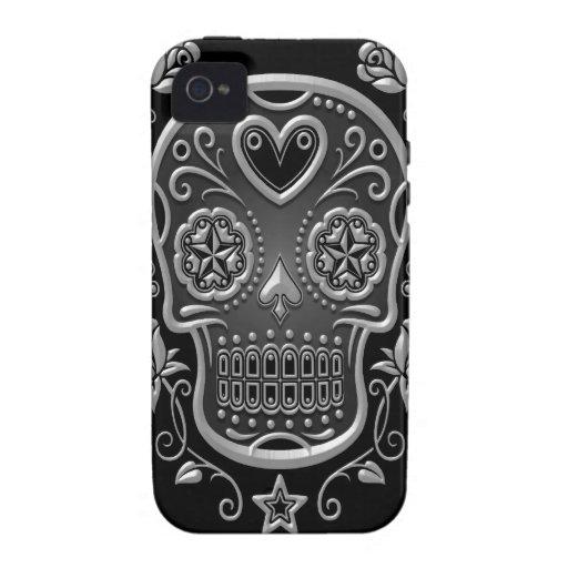 Sugar Skull with Roses, dark Case-Mate iPhone 4 Case