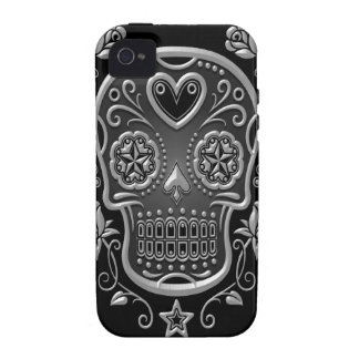 Sugar Skull with Roses, dark Case-Mate iPhone 4 Covers