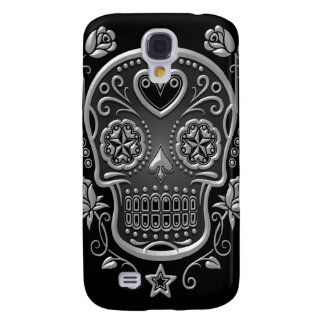 Sugar Skull with Roses, dark Galaxy S4 Cover