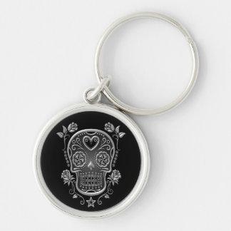 Sugar Skull with Roses, dark Keychain