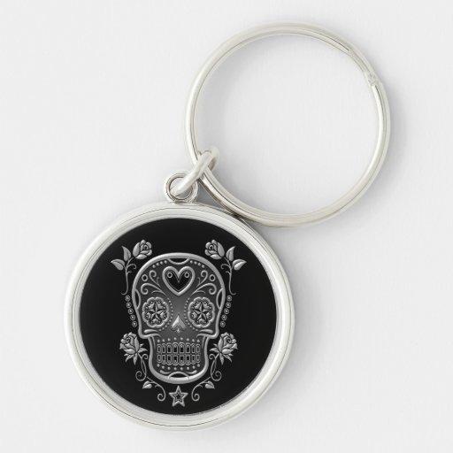 Sugar Skull with Roses, dark Keychains