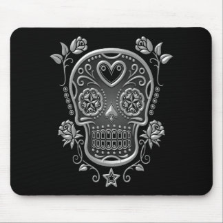 Sugar Skull with Roses, dark Mouse Pad