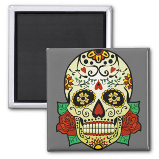 Sugar Skull with Roses Magnet