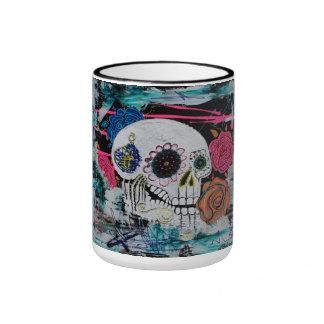 Sugar Skull with Roses Mug