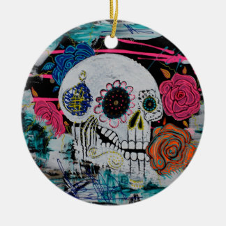 Sugar Skull with Roses Ornament