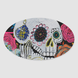 Sugar Skull with Roses Oval Sticker