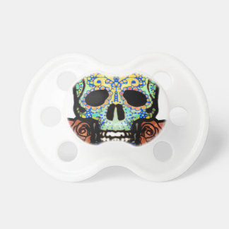 Sugar Skull with Roses Baby Pacifier