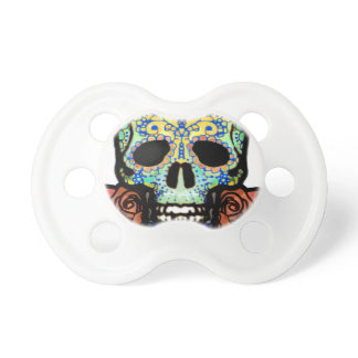 Sugar Skull with Roses Pacifier