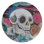 Sugar Skull with Roses Party Plate