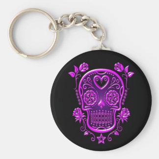 Sugar Skull with Roses, purple Keychain