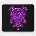 Sugar Skull with Roses, purple Mouse Pad