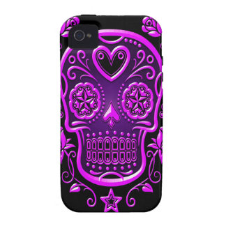 Sugar Skull with Roses, purple Vibe iPhone 4 Case