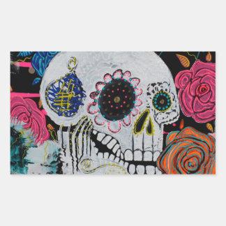 Sugar Skull with Roses Rectangular Sticker