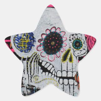 Sugar Skull with Roses Star Sticker