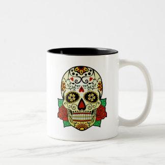Sugar Skull with Roses Two-Tone Coffee Mug