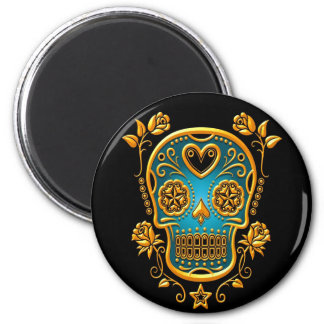 Sugar Skull with Roses, yellow and blue 2 Inch Round Magnet