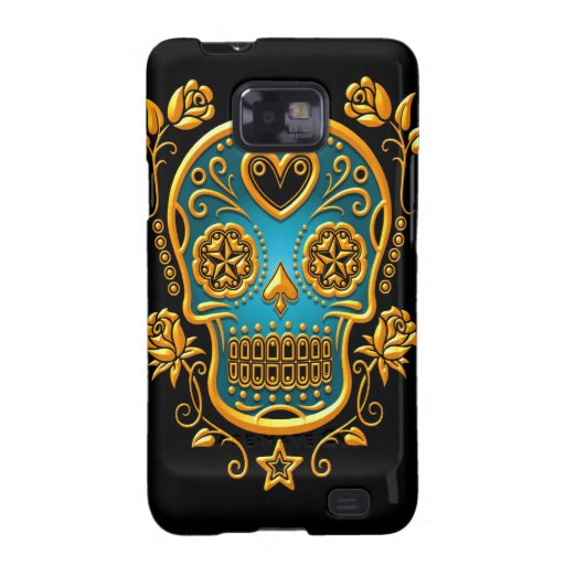 Sugar Skull with Roses, yellow and blue Samsung Galaxy SII Covers