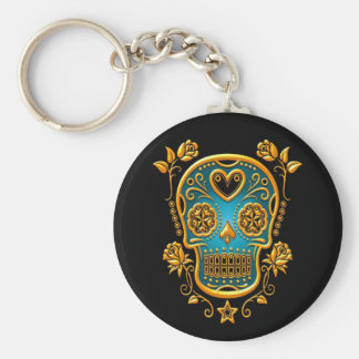 Sugar Skull with Roses, yellow and blue Basic Round Button Keychain