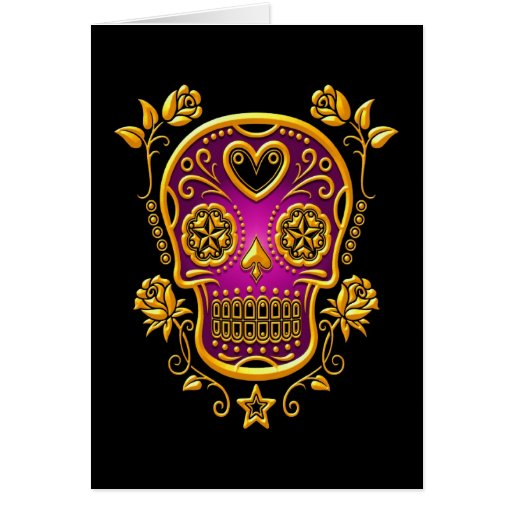 Sugar Skull with Roses, yellow and purple Card