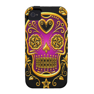Sugar Skull with Roses yellow and purple Vibe iPhone 4 Cover