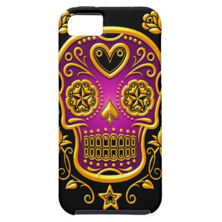 Sugar Skull with Roses, yellow and purple iPhone SE/5/5s Case