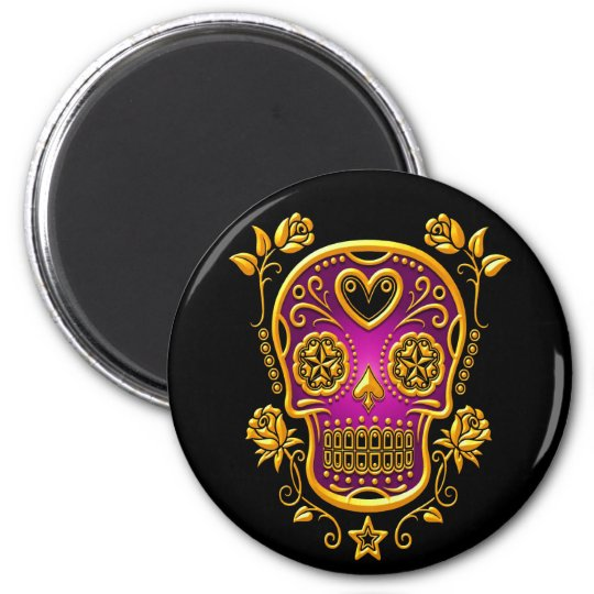 Sugar Skull with Roses, yellow and purple Magnet