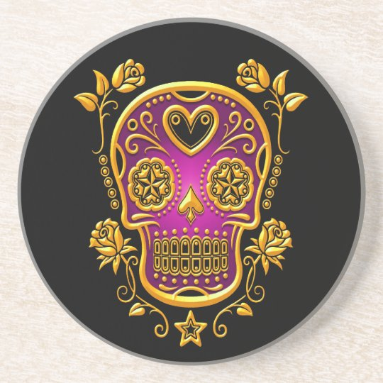 Sugar Skull with Roses, yellow and purple Sandstone Coaster