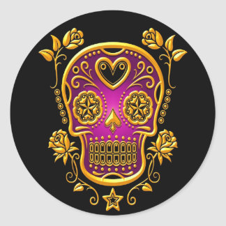 Sugar Skull with Roses, yellow and purple Round Sticker