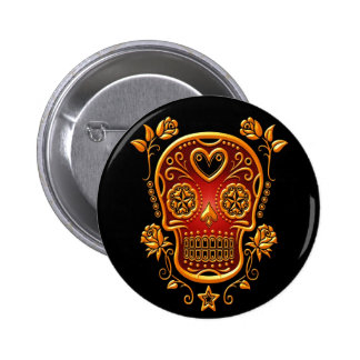 Sugar Skull with Roses, yellow and red Pinback Button