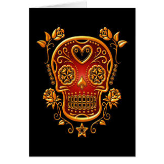 Sugar Skull with Roses, yellow and red Greeting Card