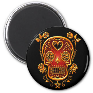 Sugar Skull with Roses, yellow and red Magnet