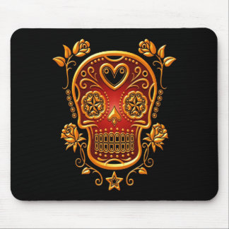 Sugar Skull with Roses, yellow and red Mouse Pad