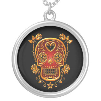 Sugar Skull with Roses yellow and red Pendants