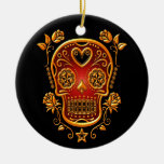 Sugar Skull with Roses, yellow and red Christmas Tree Ornament